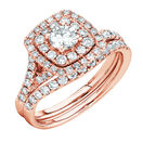 Bridal Set with 1.18 Carat TW of Diamonds in 14kt Rose Gold