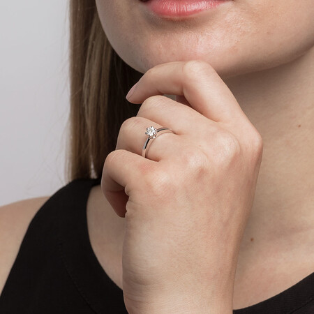 Whitefire Solitaire Engagement Ring with a 0.3 Carat TW Diamond in 18kt White & 22kt Yellow Gold