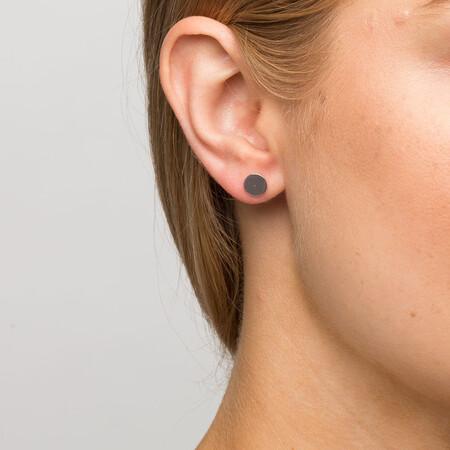 Circle Stud Earrings in Sterling Silver
