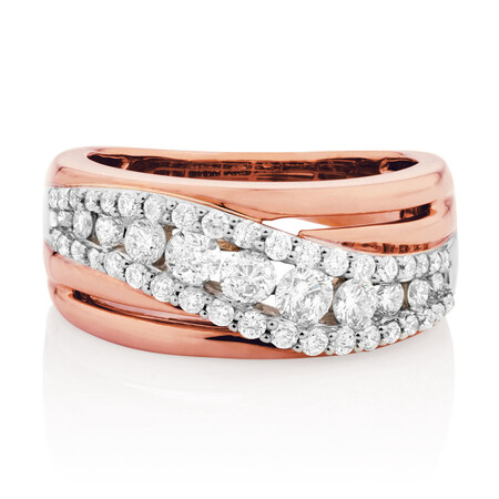 Ring with 1 Carat of Diamonds in 10kt White & Rose Gold