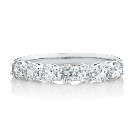 Evermore 7 Stone Wedding Band with 1 Carat TW of Diamonds in 14ktWhite Gold