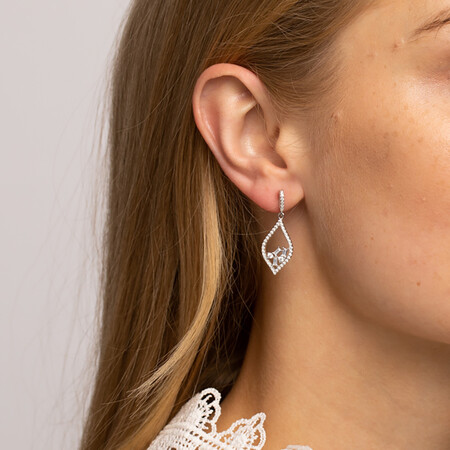 Floating Earrings with Cubic Zirconia in Sterling Silver