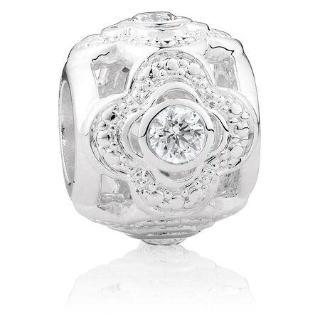 Cubic Zirconia & Sterling Silver Quatre Design Charm