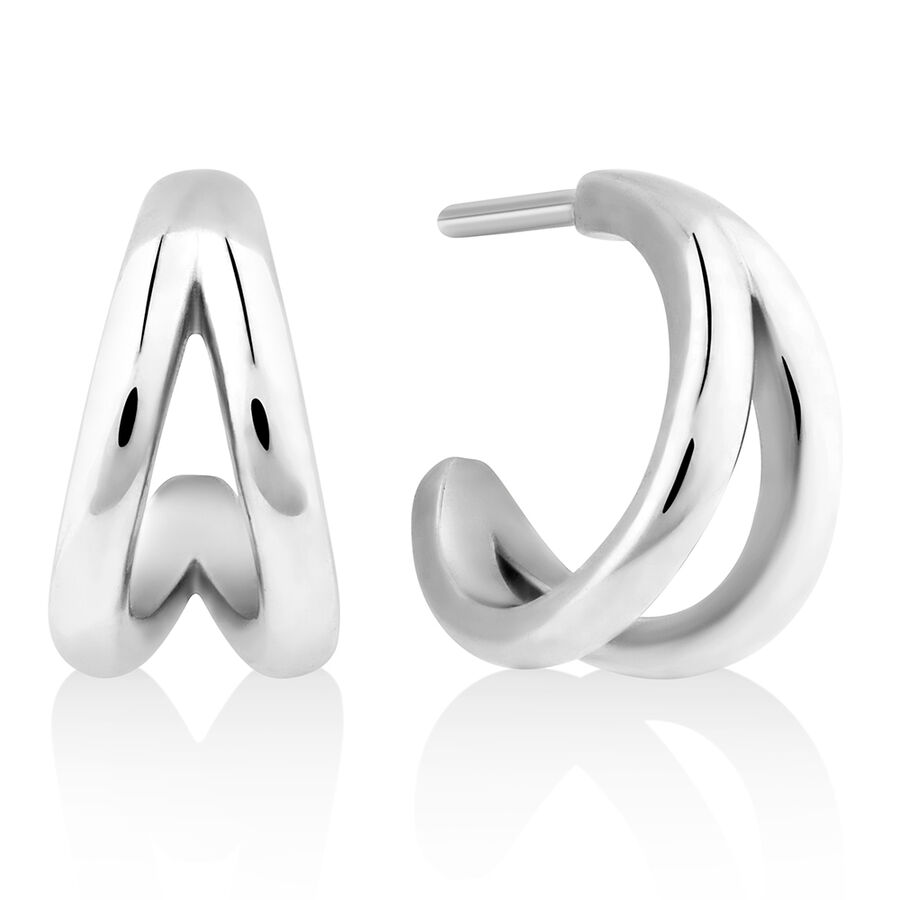 Split Hoop Stud Earrings in Sterling Silver