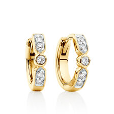 Hoop Earrings with Diamonds in 10kt Yellow Gold