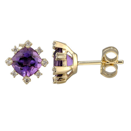 Earring with Natural Amethyst & 0.10 Carat TW of Diamonds in 10kt Yellow Gold