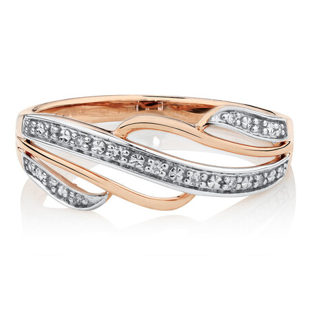 Swirl Ring with Diamonds in 10kt Rose Gold