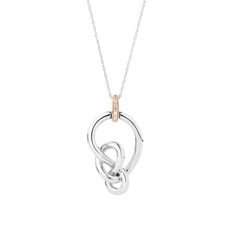 Knots Pendant with Pink Diamonds in Sterling Silver & 10kt Rose Gold