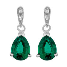 Online Exclusive - Drop Earrings with Created Emerald & Diamonds in 10kt White Gold