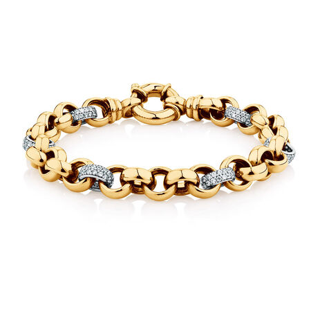 """19cm (7.5"""") Rolo Bracelet with Cubic Zirconias in 10kt Yellow & White Gold"""