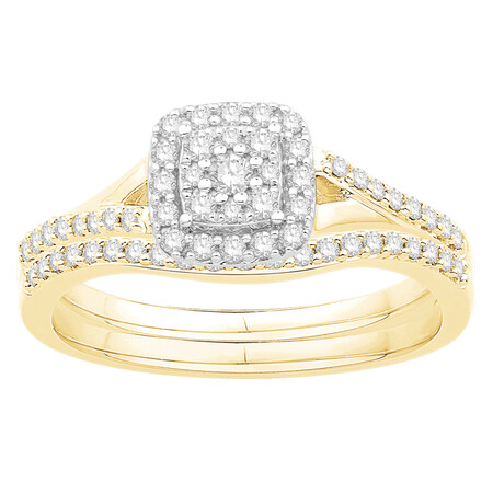 Bridal Set with 0.38 Carat TW of Diamonds in 10kt Yellow & White Gold