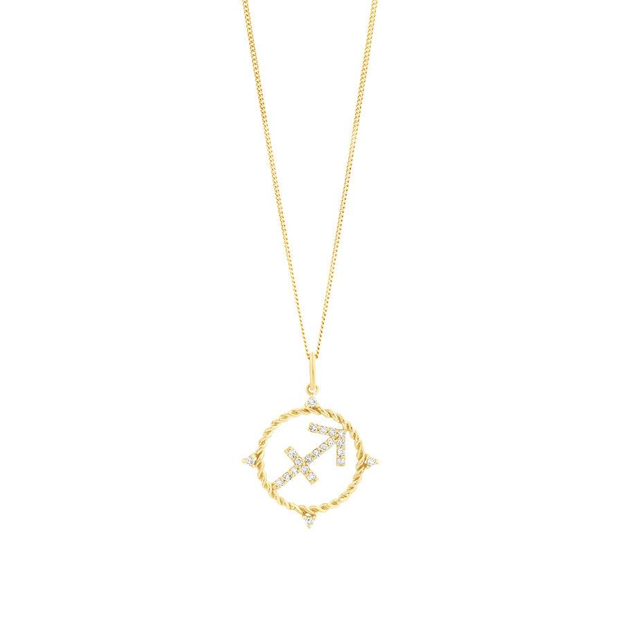 Sagittarius Zodiac Pendant with 0.15 Carat TW of Diamonds in 10kt Yellow Gold