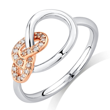 Knots Ring with 0.11 Carat TW of Diamonds in Sterling Silver & 10kt Rose Gold