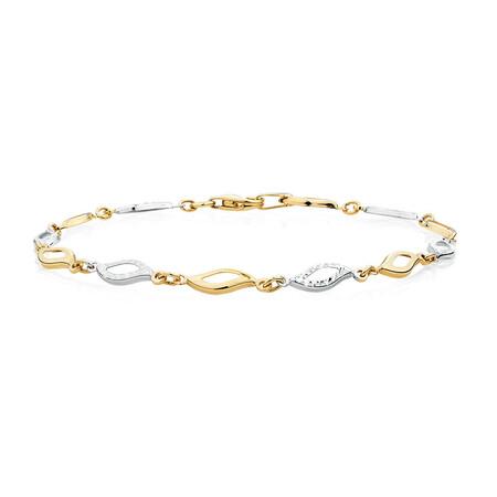 Bracelet in 10kt Yellow & White Gold