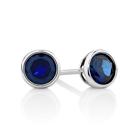 Stud Earrings with Dark Blue Cubic Zirconia in Sterling Silver
