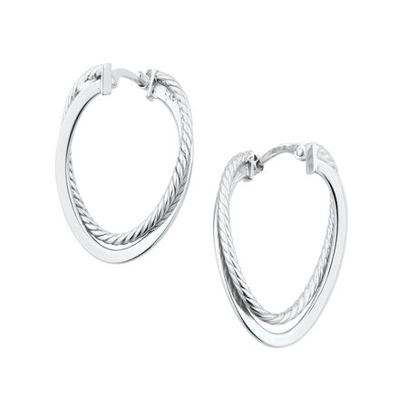Twist Oval Hoop Earrings in Sterling Silver