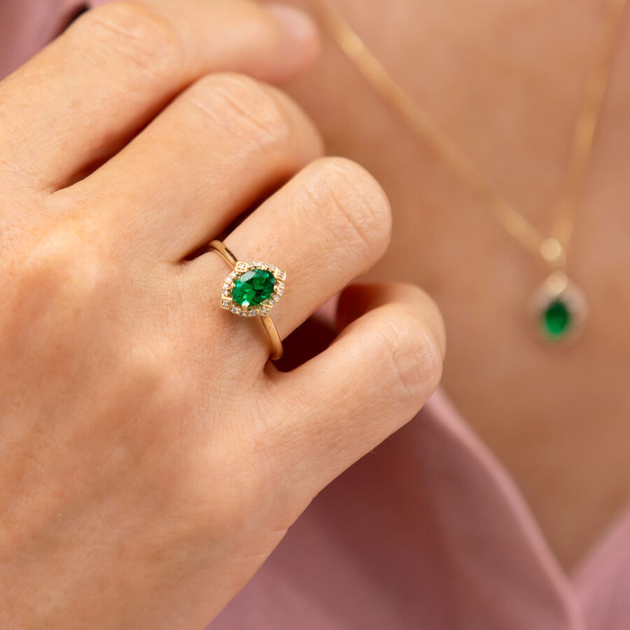 Halo Ring With Created Emerald & Diamonds in 10kt Yellow Gold