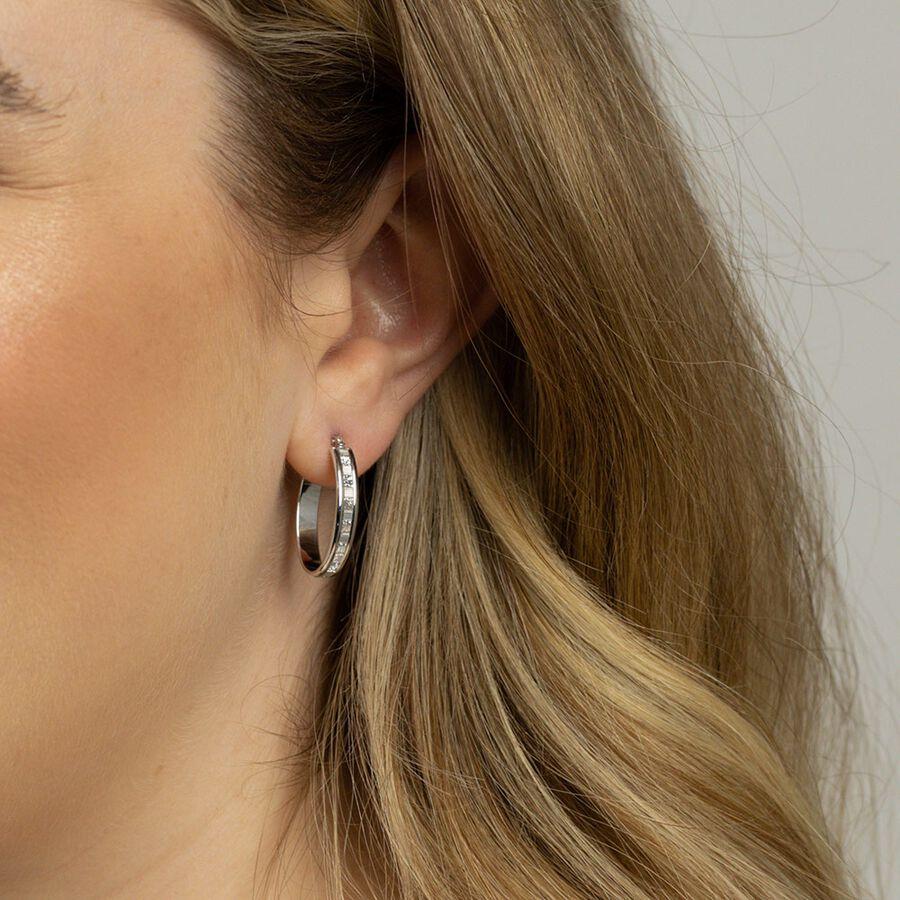 Glitter Hoop Earrings in 10kt White Gold