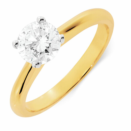 Certified Solitaire Engagement Ring with a 1 Carat TW Diamond in 14ct Yellow & White Gold