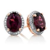 Earrings with Rhodolite Garnet and Diamonds in 10kt Rose Gold