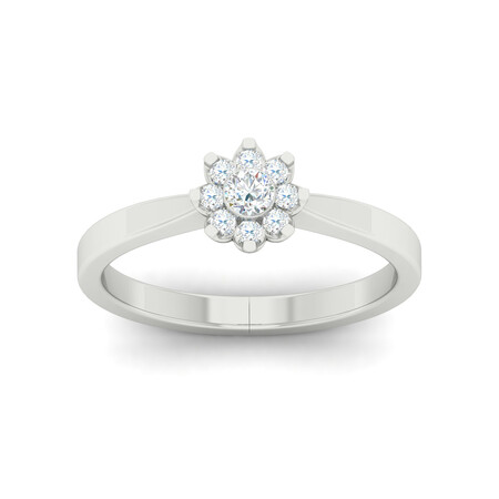 Flower Ring with 0.20 Carat TW of Diamonds in 10kt White Gold