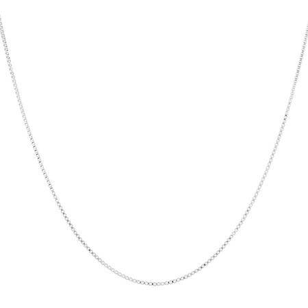 "55cm (22"") Diamond Cut Box Chain in 14kt White Gold"