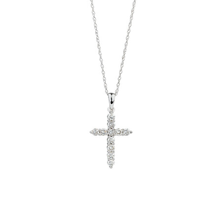 Cross Pendant with 0.34 Carat TW of Diamonds in 10kt White Gold