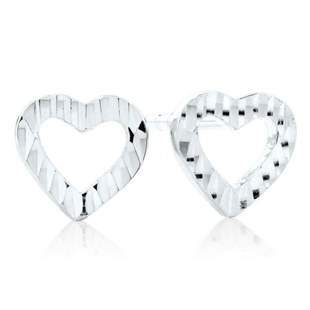 Heart Stud Earrings in 10kt White Gold