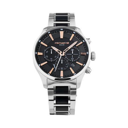 Solar Powered Men's Watch with Black Tone in Stainless Steel