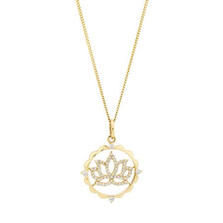 Lotus Talisman Pendant with 0.15 Carat of Diamonds in 10kt Yellow Gold