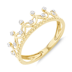 Crown Ring With Diamonds In 10kt Yellow Gold