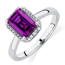 Ring with Created Mulberry Sapphire & Diamonds in 10kt White Gold