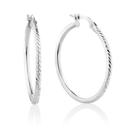 Patterned Hoop Earrings in 10kt White Gold