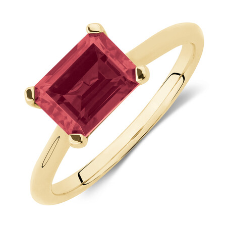 Emerald Cut Ring with Created Ruby in 10kt Yellow Gold