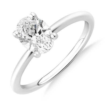Laboratory-Created 1 Carat Oval Diamond Ring in 14kt White Gold