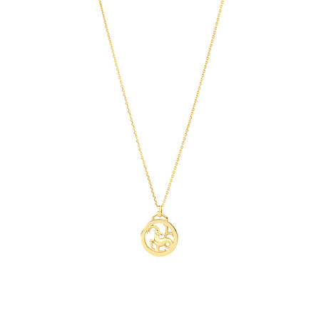 Capricorn Zodiac Pendant with Chain in 10kt Yellow Gold