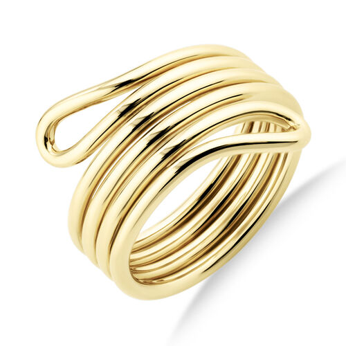 Double Loop Slim Ring In 10kt Yellow Gold