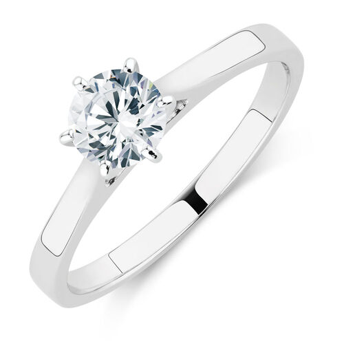 Solitaire Engagement Ring with a 0.60 Carat Diamond in 14kt White Gold