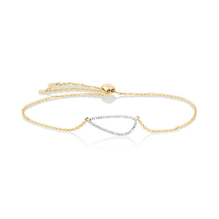 Organic Shape Adjustable Bracelet with Diamond in 10kt Yellow Gold