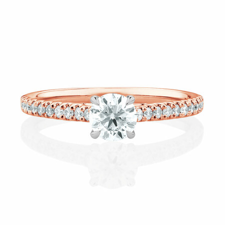 Solitaire Engagement Ring with 0.78 Carat TW of Diamonds in 14kt Rose & White Gold