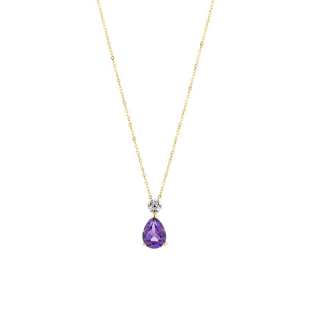 Pendant with Amethyst and Diamonds in 10kt Yellow & White Gold