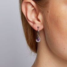 Drop Earrings with Amethyst & Diamonds in 10kt White Gold