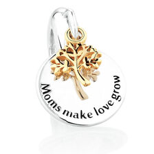 Tree of Life Dangle Charm in Sterling Silver & 10kt Yellow Gold
