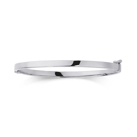 Hinged Bangle in 10kt White Gold