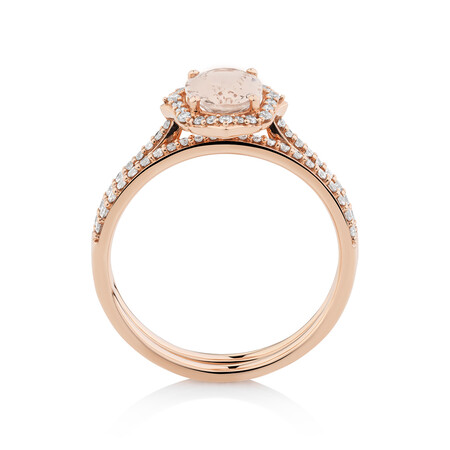 Bridal Set with 0.30 Carat TW of Diamonds & Morganite in 14kt Rose Gold