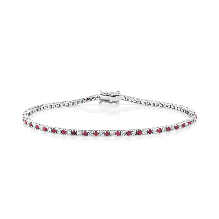 Tennis Bracelet with Natural Ruby & 1 Carat TW of Diamonds in 10ct White Gold