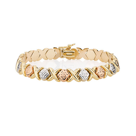 Bracelet in 10kt Yellow, White & Rose Gold
