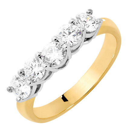 Wedding Band with 1 Carat TW of Diamonds in 18kt Yellow & White Gold