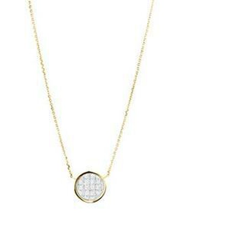 Glitter Circle Necklace in 10kt Yellow Gold