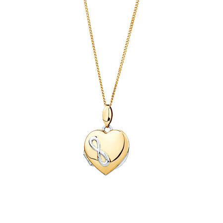 Infinity Heart Locket in 10kt Yellow Gold & Sterling Silver